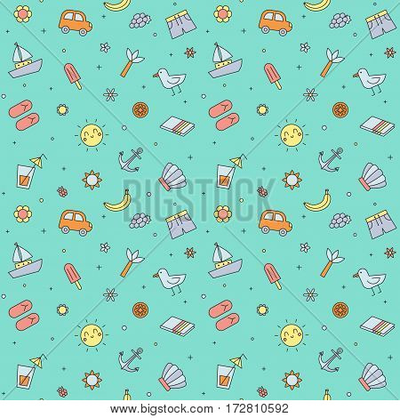 Summer beach seamless pattern (blue). Clean and simple outline design.