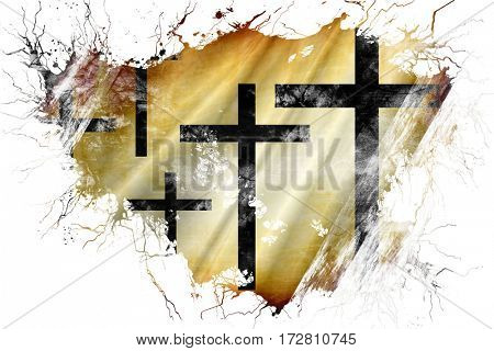 Grunge old Christian cross icon flag