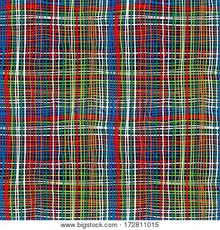 Vector seamless bold plaid pattern with thin brushstrokes and stripes hand painted in bright colors. Striped print texture with crossing brushed lines for fall winter retro fashion and sportswear