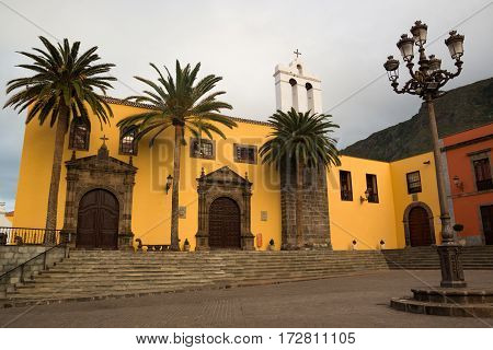 San Francisco monastery exterior and main square in Garachico town in Tenerife Canary Islands Spain