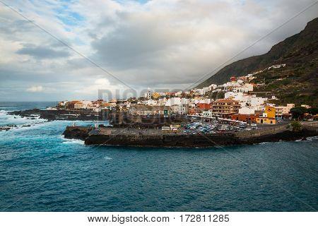 aerial view of Garachico in Tenerife Canary Islands Spain
