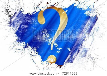 Grunge old question mark flag