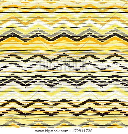 Vector geometric seamless pattern with zigzag lines and stripes in bright colors. Striped modern bold print in tribal style for summer fall fashion. Abstract ethnic chevron background. Woven texture