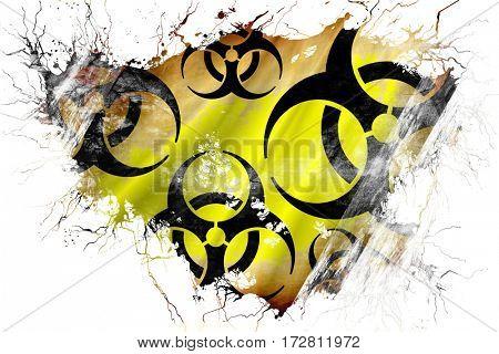 Grunge old Biohazard sign flag