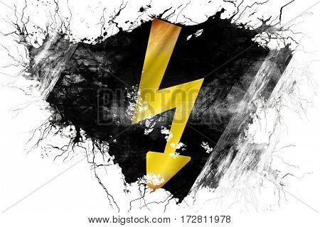 Grunge old High voltage sign flag