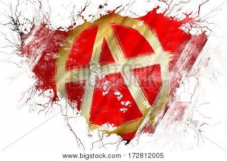 Grunge old Anarchist sign flag