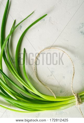 A Bunch Of Green Spring Onions Tied With A Rope On A Light Stone Background.