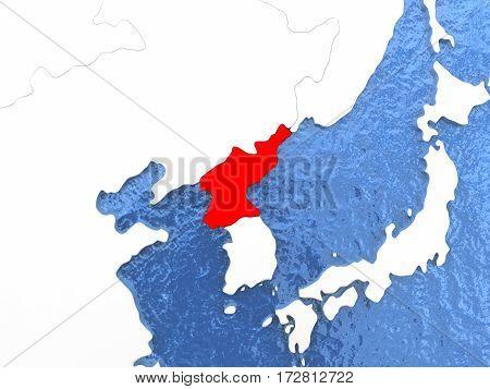 North Korea On Globe
