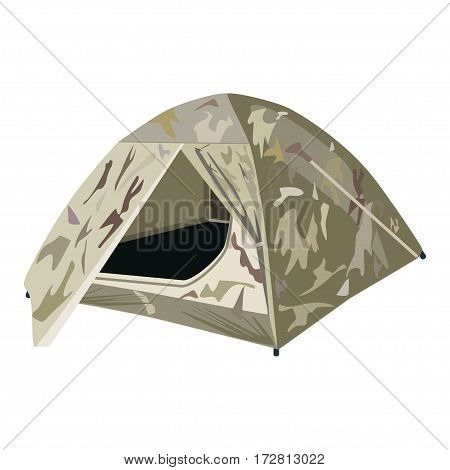 Vector illustration of camping tent isolated on white background. Tourist hunter tent in flat style.