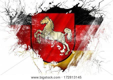 Grunge old lower saxony, niedersachsen flag