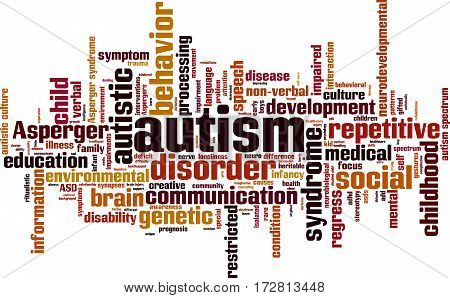 Autism word cloud concept. Vector illustration on white
