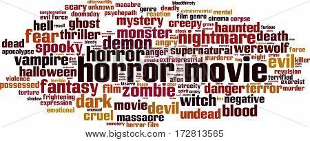Horror movie word cloud concept. Vector illustration
