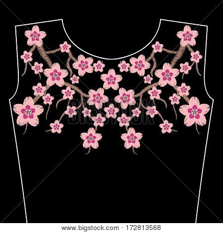 Embroidery stitches with Sakura flowers, branch of Japanese cherry blossoms, spring color. Neckline for fabric, textile floral print. Fashion design for girl wearing decoration. Ornamental pattern.