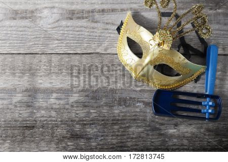 Gragger - noisemaker and carnival mask for Purim celebration jewish holiday .
