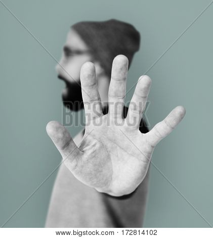 Caucasian Man Stop Hand Sign Portrait