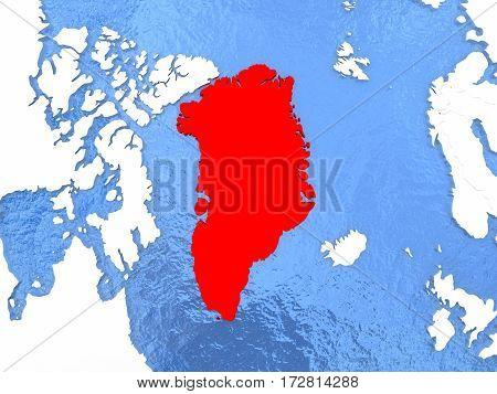 Greenland On Globe