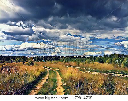 Rural field with dirt road during sunset. Autumn landscape in painting style. Wheat field with track. Wheels mark on agriculture land. Field and stormy sky digital illustration. Fall weather image
