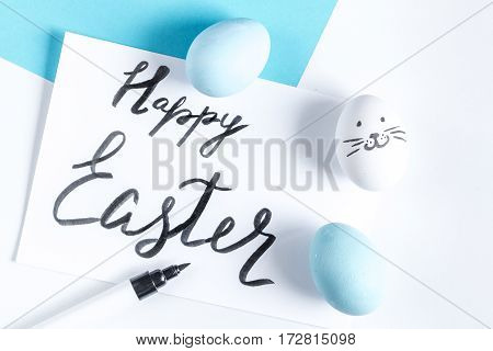 Easter concept on white background top view mockup.
