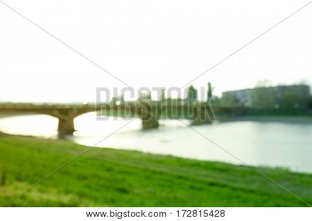 Blurred view of bridge on sunny day