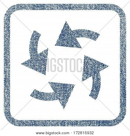 Cyclone Arrows vector textured icon for overlay watermark stamps. Blue jeans fabric vectorized texture. Symbol with dust design inside rounded rectangle.