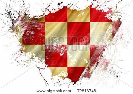 Grunge old North Brabant, noord brabant flag