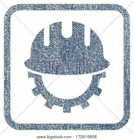 Development Hardhat vector textured icon for overlay watermark stamps. Blue jeans fabric vectorized texture. Symbol with dirty design inside rounded rectangle.