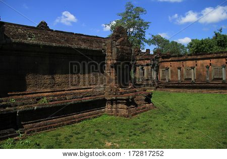 In Area around Angkor Wat part of Khmer temple complex popular among tourists ancient landmark and place of worship in Southeast Asia. Siem Reap