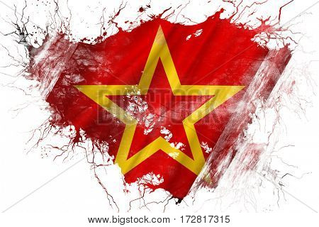 Grunge old Red army symbol flag