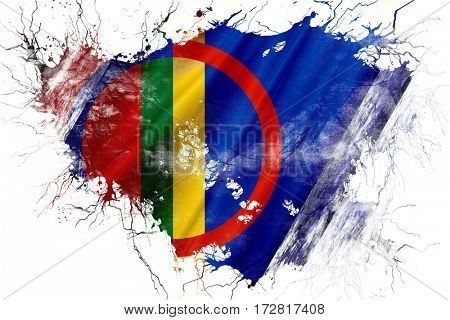 Grunge old Sami people flag