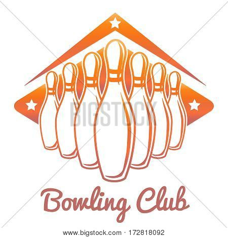 Bright bowling club banner design isolated on white background. Vector illustration