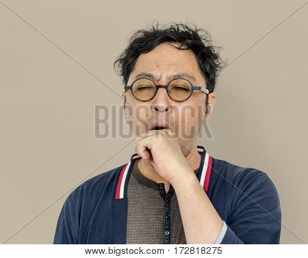 Asian Men Adult Yawn Tired Portrait