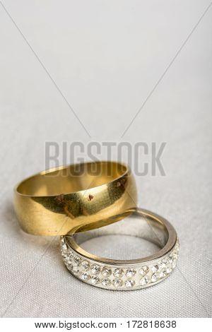 Wedding Rings Macro Closeup White Satin Background