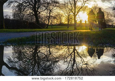 Couple of persons walking at the park in during the sunset reflected in the water pool in the mud.