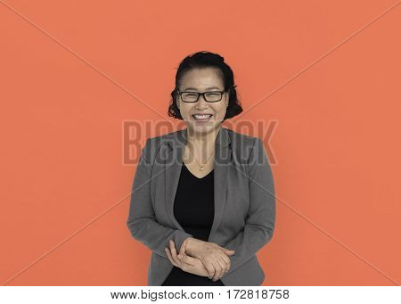 Asian Business Woman Hands Together Smiling