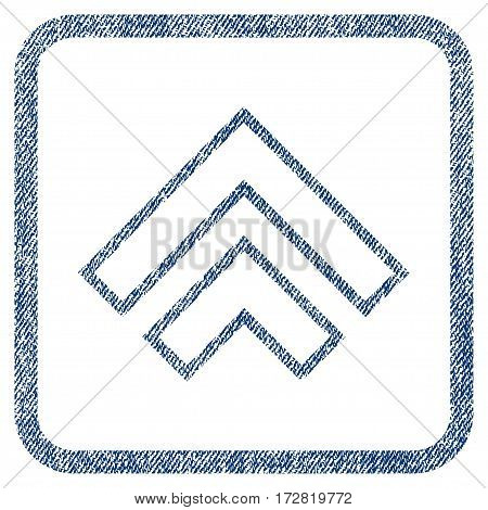Direction Up vector textured icon for overlay watermark stamps. Blue jeans fabric vectorized texture. Symbol with dirty design inside rounded rectangular frame.