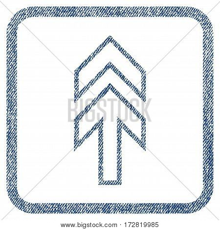 Direction Up vector textured icon for overlay watermark stamps. Blue jeans fabric vectorized texture. Symbol with scratched design inside rounded rectangular frame.