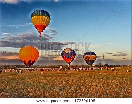 Air Balloons in yellow field during sunset. Colorful air balloons on sunset sky background. Autumn festival of air balloons. Yellow air balloon for flight. Beautiful fall landscape. Romantic holiday