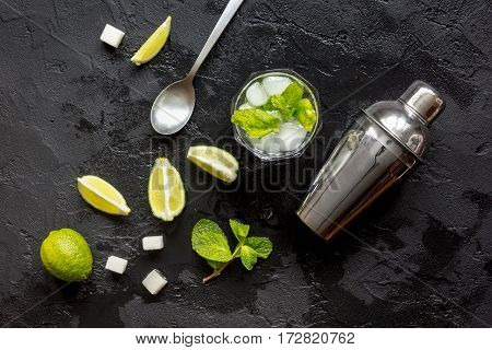 making mojito on dark background top view.