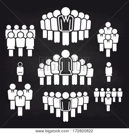 Team leading concept icons on blackboard background. Vector illustration