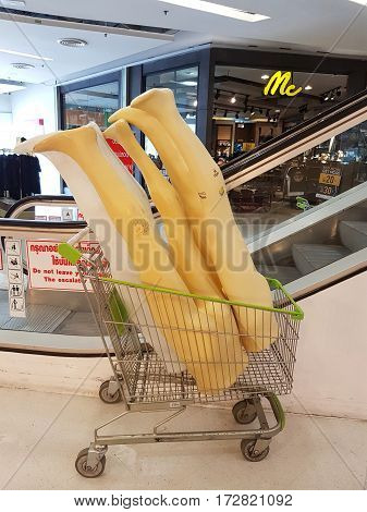 CHIANG RAI THAILAND - FEBRUARY 15 : legs of dummy in supermarket push cart in department store on February 15 2017 in Chiang rai Thailand.