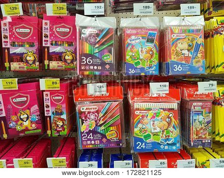 CHIANG RAI THAILAND - FEBRUARY 15 : various brand of crayon in packaging for sale on supermarket stand or shelf on February 15 2017 in Chiang rai Thailand.