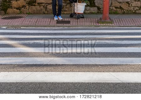 image of a pedestrian in a crosswalk