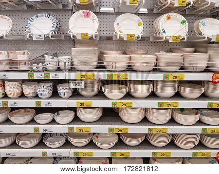 CHIANG RAI THAILAND - FEBRUARY 15 : various brand of ceramic dishes for sale on supermarket stand or shelf on February 15 2017 in Chiang rai Thailand.