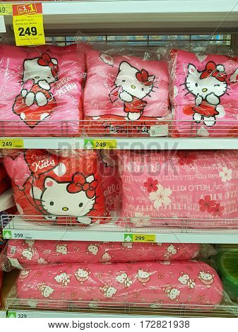 CHIANG RAI THAILAND - FEBRUARY 15 : pink Kitty pillow for sale on supermarket stand or shelf on February 15 2017 in Chiang rai Thailand.