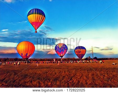 Air balloons flying in the blue sky. Vibrant air balloons float exhibition in the countryside field. Romantic travel transport. Sunset sky with flight vehicle. Beautiful sky view with zeppelins image