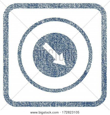 Down-Right Rounded Arrow vector textured icon for overlay watermark stamps. Blue jeans fabric vectorized texture. Symbol with dust design inside rounded rectangular frame.