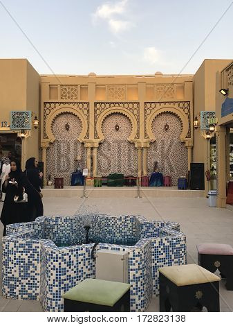 DUBAI, UAE - Feb 8: Iran pavilion at Global Village in Dubai, UAE, as seen on Feb 8, 2017. The Global Village is claimed to be the world's largest tourism, leisure and entertainment project.