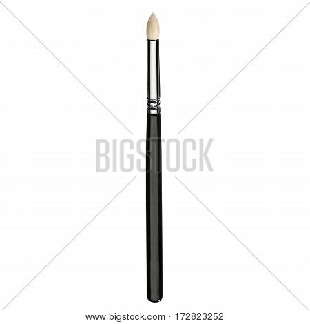 Makeup Brush Isolated White Background. Eyeshadow Brush. Foundation Powder Brush. Studio Retractable