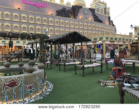 DUBAI, UAE - Feb 8: India pavilion at Global Village in Dubai, UAE, as seen on Feb 8, 2017. The Global Village is claimed to be the world's largest tourism, leisure and entertainment project.