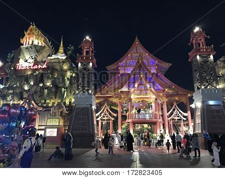 DUBAI, UAE - Feb 8: Thailand pavilion at Global Village in Dubai, UAE, as seen on Feb 8, 2017. The Global Village is claimed to be the world's largest tourism, leisure and entertainment project.